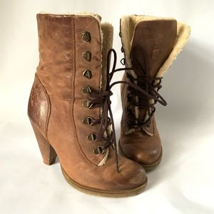 Aldo // Tan Sherpa Lined Lace Up Heeled Boots 37